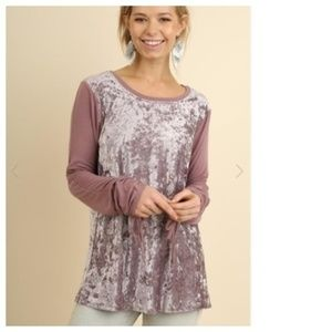 UMGEE Velvet Ruched Tie Sleeve Tunic Top NEW